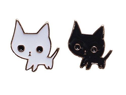 [Brand New Set of 2 Matching Black and White Kitty Cat Enamel Lapel Pins] (Toddler Natural Leopard Costumes)