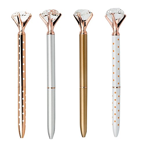 Pshine Rose Gold Crystal Pen with Big Diamon Ball/Crystal/Jewel/Gem-Wedding Pen-Cute Bling Fancy Metal Ballpoint Pens Colored Office/School/Desk Supplies for Women -Black Ink - Jewel Fancy