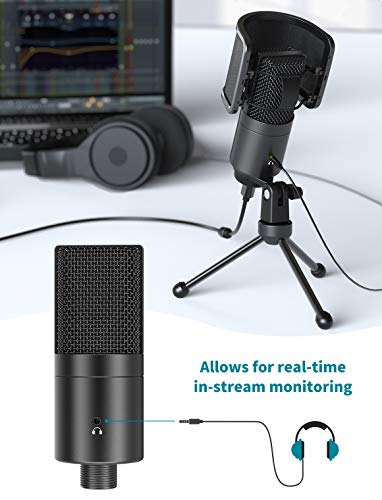 FIFINE K683A USB Desktop PC Microphone with Pop Filter for Computer and Mac, Studio Condenser Mic with Gain Control, Mute Button, Headphone Jack & Extra USB-C Plug