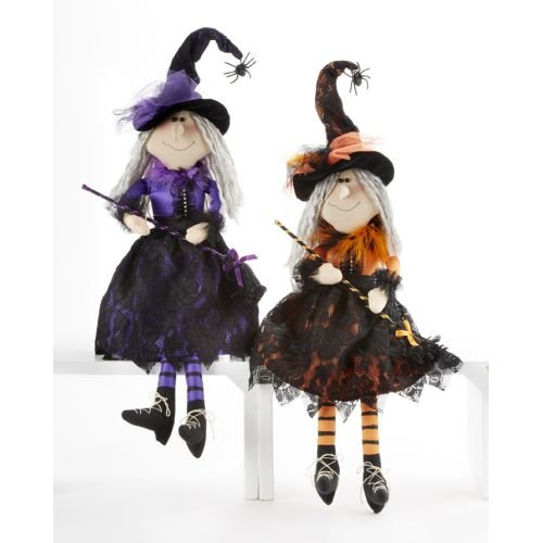 Delton 20 Inches Sitting Lace Witch With Broom,Set Of 2