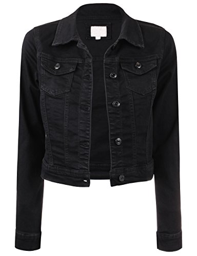 BEKTOME Womens Classic Vintage Long Sleeve Denim Jacket with Pockets-XL-Black