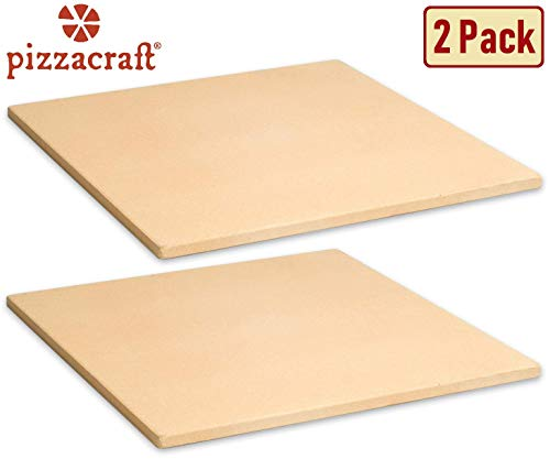 "Pizzacraft 15"" Square ThermaBond Baking/Pizza Stone - For Oven or Grill, 2 Pack"