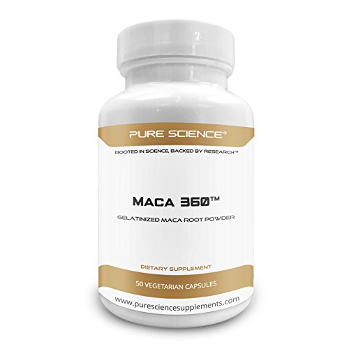 Pure Science Gelatinized Maca Root Powder 750mg - Boosts Muscle Mass and Recovery, Enhances Physical Performance, Boosts Energy & Libido - 50 Vegetarian Capsules of Maca Powder