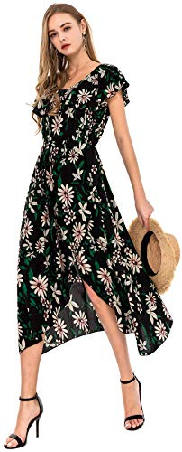 Wantdo Women's A Line Split Maxi Dress Casual Ruffle Long Dresses Daisy S