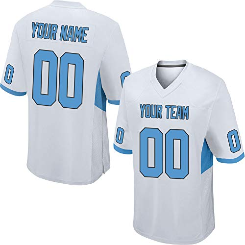 - Custom Men's White Mesh Football Game Jersey Big & Tall Stitched Team Name and Your Numbers,Light Blue-Black Size 4XL