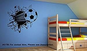 Total Trading UK - Vinilo decorativo de pared, diseño de balón de fútbol rompiendo la pared