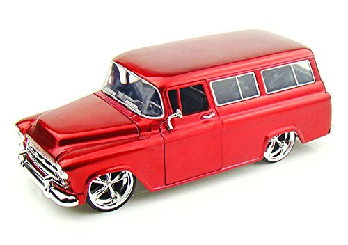 1957 Chevy Suburban, Red - Jada Toys Bigtime Kustoms 50267 - 1/24 scale Diecast Model Toy Car (Brand New, but NO BOX) (Chevy Suburban Model compare prices)