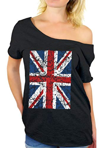 Def Leppard Union Jack - Awkward Styles Women's Union Jack Flag Off Shoulder Tops T-Shirt L Black