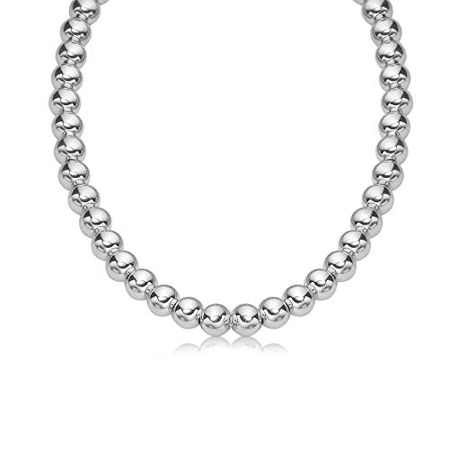 Verona Jewelers Sterling Silver 7MM 8MM Italian Bead Ball Chain Necklace- Handmade Bead Italian Necklace, Silver Bead Necklace (16, 7MM) (Graduated Beaded Chain)