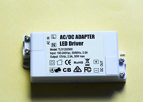 Eforlighting AC 100-240V to DC 12V 2.5A SMD LED Driver Power Transformer for MR11//G4//MR16//GU5.3 Light Bulbs 30W AC//DC Adapter LED Driver Power Supply Transformer Converter XB-030W