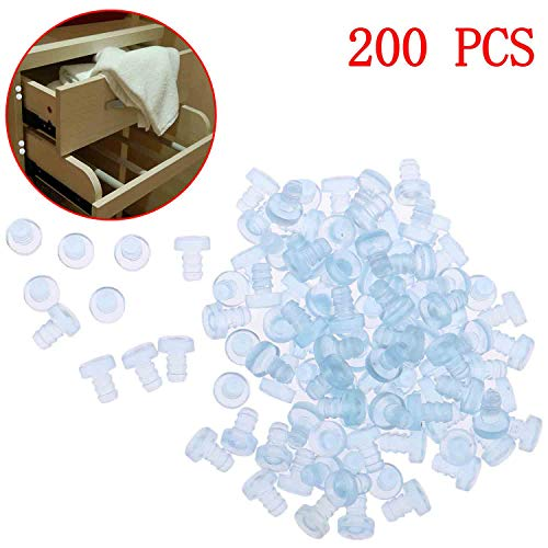 Xgood 200 Pieces Rubber Bumpers Clear Rubber Bumper Pads Glass Table Bumpers Soft Stem Bumper Anti Collision Rubber Bumpers Embedded Rubber Bumpers for Door Glass Table Top Noise Buffer (Stem Bumper)