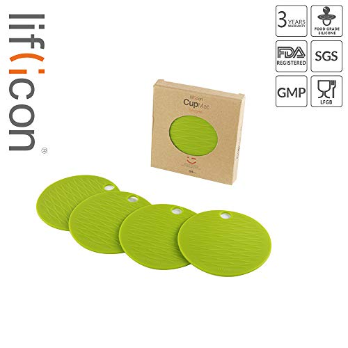 (liflicon Non-Slip Premium Silicone Cup Mats Thick Durable Coasters BPA Free Placemat Insulation Hot Pads 4pcs-Green)