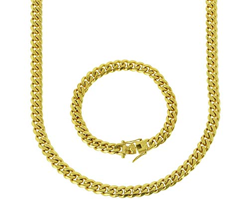 Bling Bling NY Solid 14k Yellow Gold Finish Stainless Steel 8mm Thick Miami Cuban Link Chain Box Clasp Lock