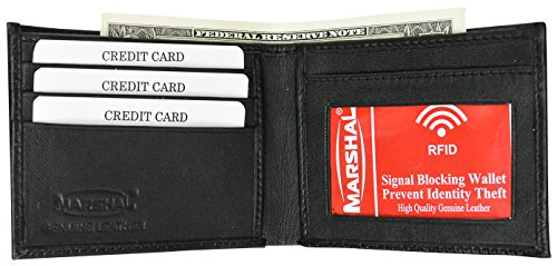 Premium RFID Blocking Men's Genuine Lamb Leather Slim ID Card Holder Bifold Wallet by Marshal Wallet (Black) ()