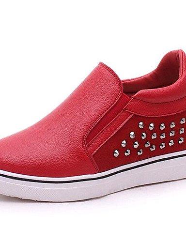 ZQ Zapatos de mujer-Tacón Cuña-Cuñas-Mocasines-Exterior / Casual-Semicuero-Negro / Rojo , red-us8 / eu39 / uk6 / cn39 , red-us8 / eu39 / uk6 / cn39 red-us7.5 / eu38 / uk5.5 / cn38