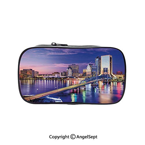Pencil Holder with Handle Strap Handy Colored,Jacksonville Florida Skyline Vibrant Night St. Johns River Scenic Royal Blue Light Pink 5.1inches,Large Capacity Students Stationery ()