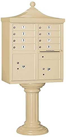 Salsbury Industries 3308R-SAN-P Regency Decorative CBU with CBU, Pedestal, CBU Top, Pedestal Cover and Master Locks, 8 A Size Doors, Type I, Private Access, - Regency Cluster Box Unit