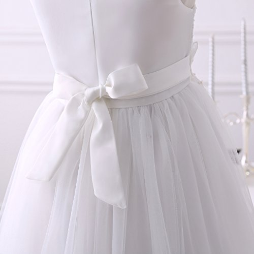20d78de6638e Abaosisters Flower Girl Dress Lace Crochet Bow Sash Party Wear 6-13 Year Old  White 8-9 yrs