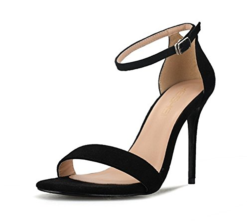 Mujer Tacón Tobillo Dedo Zapatos pie Sandalias Strappy black Correa Tamaño Grande Señoras 35 del 44 Estilete furtivamente Fiesta Mirar 41r5qw4Wn
