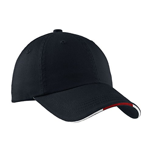 Port Authority Signature Sandwich Bill Cap with Striped Closure, Classic Navy and Red and White