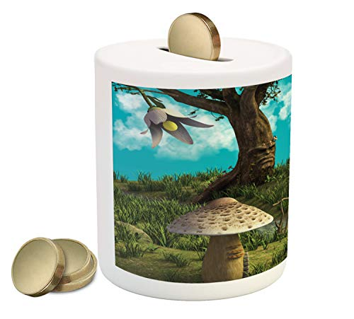 - Lunarable Fairy Tree Piggy Bank, Fantasy World Concept with a Grumpy Tree and Houses in The Shape of Mushrooms, Printed Ceramic Coin Bank Money Box for Cash Saving, Multicolor