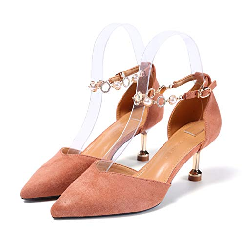 One Drill Sharp Is Chain Cat Shoe With Head Black Suede Water Heel High The Shoes Word Summer Thin In Quality 7Cm And Spring Heel KPHY And YnRw1Tgaqg