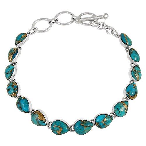 (Turquoise Link Bracelet Sterling Silver 925 Genuine Turquoise & Gemstones (Teal/Matrix Turquoise))
