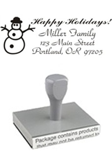 DESIGNER HOLIDAY STAMP // RECTANGULAR // SNOWMAN WITH ADDRESS // WOOD HANDLE // CUSTOMIZED - PERSONALIZED ADDRESS STAMP (Handle Wood Snowman)