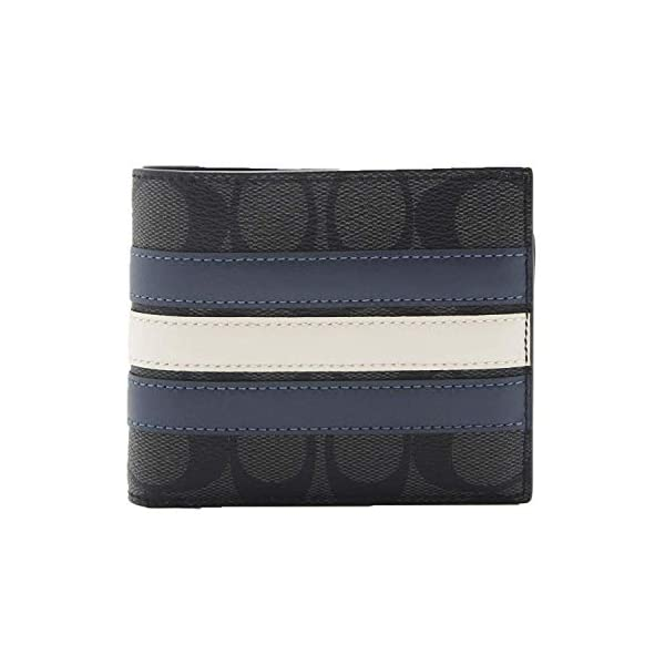 COACH F26072 3-IN-1 WALLET IN SIGNATURE CANVAS WITH VARSITY STRIPE (black)