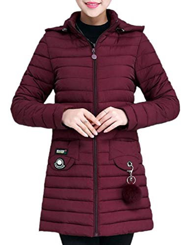Mogogo Women's Pockets Wine Casual Packable Red Quilted with Slim Jacket Uq6qxwOR