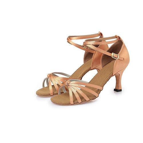 T.T-Q Zapatos de Baile para Mujer Talones de Satén Tacón de Aguja CL26-CL38 Desnudo Desnudo