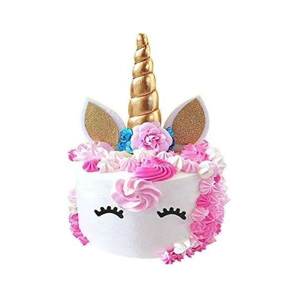 Hecho a mano oro Unicornio torta de cumpleaños Toppers Set. Cuerno de unicornio, orejas y flores set. Unicorn Fiesta Decoración para Baby Shower , De Boda y Fiesta de cumpleaños