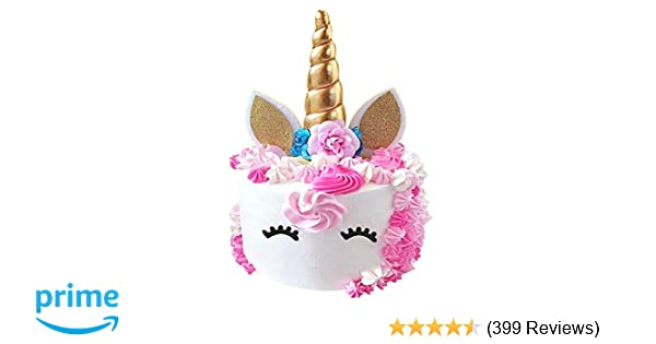 PalkSky Handmade Gold Unicorn Birthday Cake Toppers Set Horn Ears And Flowers Party Decoration For Baby Showerwedding