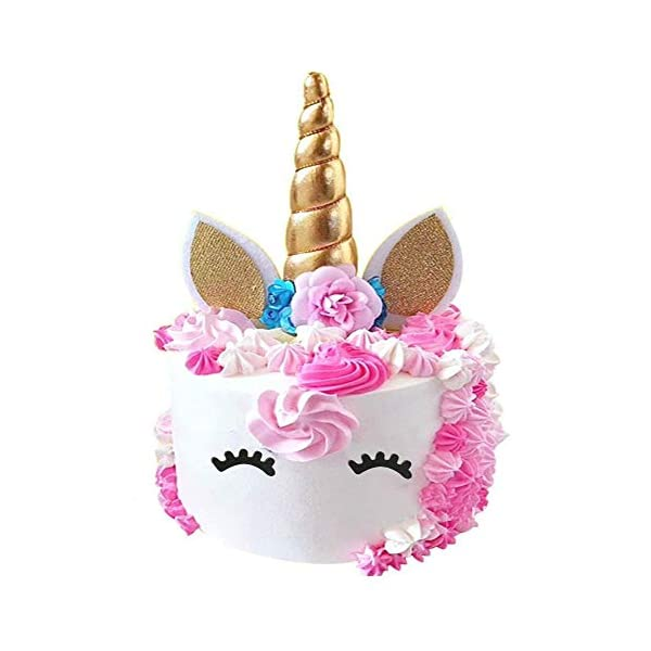 Palksky Handmade Gold Unicorn Birthday Cake Toppers Set. Unicorn Horn, Ears and Flowers Set. Unicorn Party Decoration for Baby Shower,Wedding and Birthday Party 3