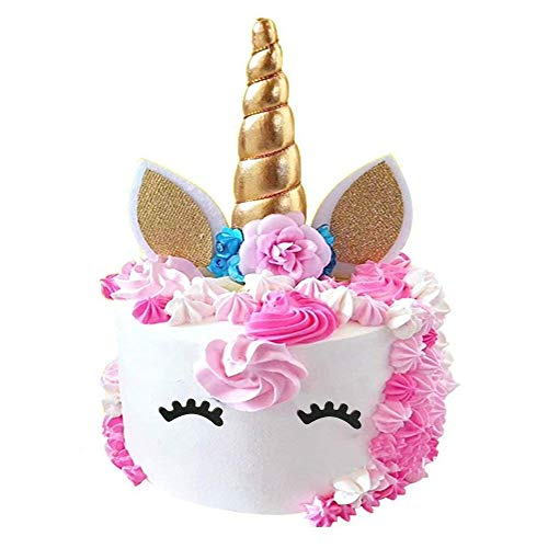 PalkSky Handmade Gold Unicorn Birthday Cake Toppers set Unicorn Horn Ears and flowers Set Unicorn Party Decoration for baby shower,wedding and birthday party