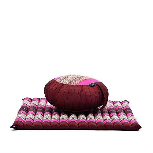 Set de meditación: Almohada Redonda de Zafu y cojín de Suelo Cuadrado Grande de Zabuton Orgánico Naturalmente Ecológico, Capok