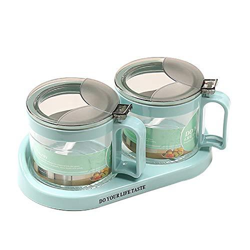 heaven2017 Spice Jar Condiment Storage Seasoning Bottle Container Condiment Pot Double Jar by heaven2017 (Image #1)