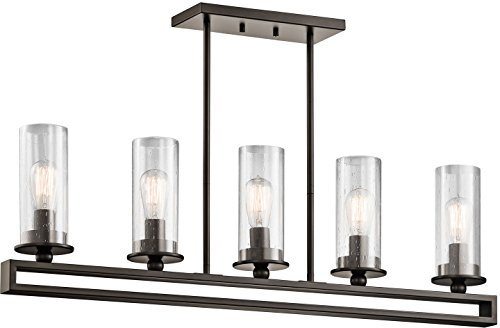 Kichler Lighting 42124OZ Kayde 5LT Linear Pendant, Olde Bronze Finish with Clear Seedy Glass Shades