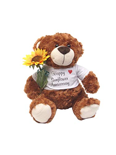 Happy 18th Wedding Anniversary Teddy Bear with Feather Rose Gift