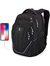 Extra Large Backpack, Swissdigital TSA Friendly Business Laptop Backpack for Men with USB Charging Port/RFID Protection Big Travel Water-Resistant School Bookbag Fits 15.6 in Laptops,[Black] … (Back)