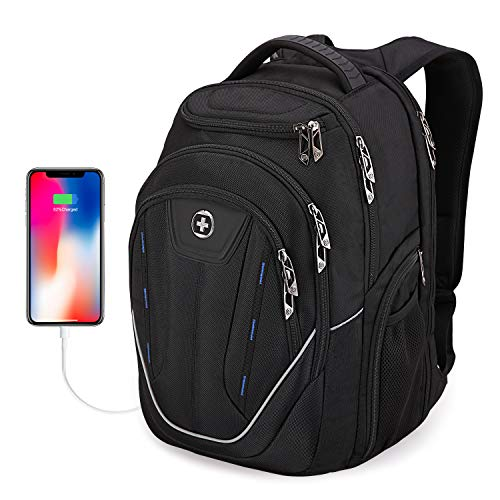 Large Durable Backpack, Swissdigital TSA Friendly Business Laptop Backpack for Men with USB Charging Port/RFID Protection Big Travel Water-Resistant School Bookbag Fits 15.6 in Laptops (Back) (A)