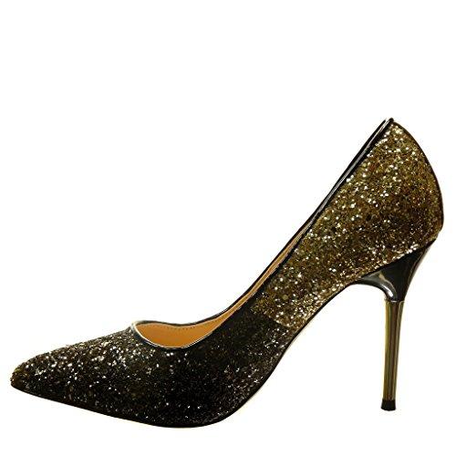 Angkorly - Scarpe da Moda scarpe decollete stiletto sexy da sera donna paillette Tacco Stiletto tacco alto 10 CM - Oro