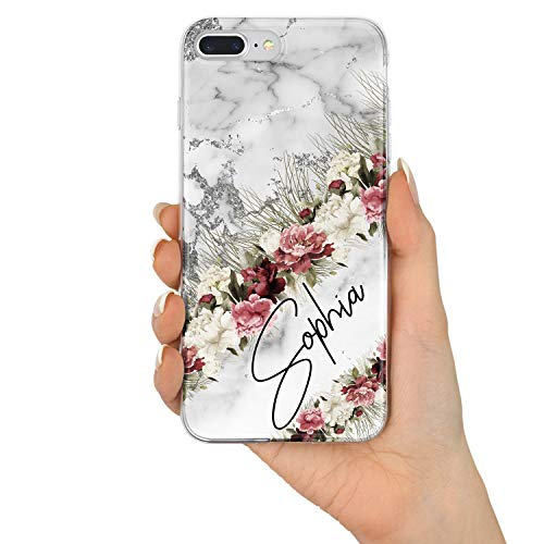 TULLUN Personalised Individual Marble Heart Pattern Initials Name Text Custom Hard Phone Case for iPhone Models - Silver Marble Flowers - iPhone 6 / 6s