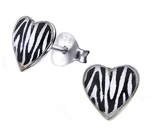 - Zebra Print Heart Shape Studs Earrings Small Girls Children 925 Sterling Silver (E19917)