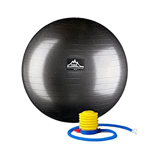 Black Mountain Products Professional Grade Pro Series 1000Lbs AntiBurst and 2000Lbs Static Weight Capacity Exercise Stability Ball, Black, 45 cm