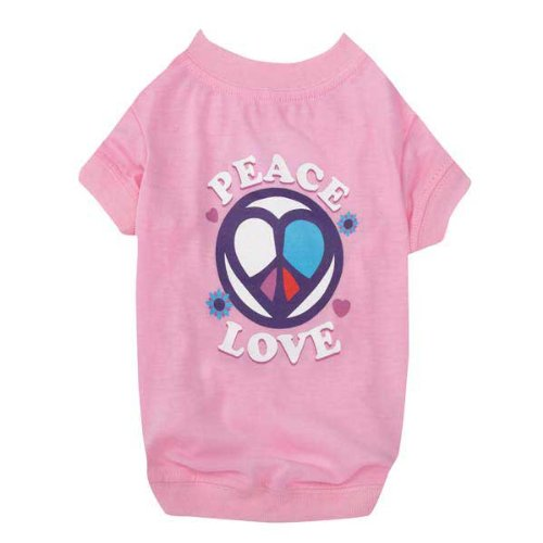 Cat Buddies Face Pet (Casual Canine Peace and Love Tee Xsm Pink)