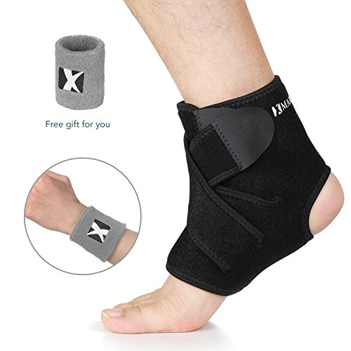 Wide Ankle Band (Ankle Brace MARNUR Breathable Ankle Support with Adjustable Adhesive Straps and Open-heel Design for Sport Running Basketball Women Men Ankle Sprain (L) -Free Wristband Included)