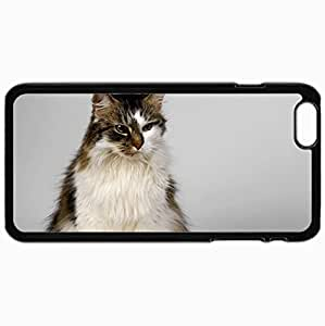 Customized Cellphone Case Back Cover For iPhone 6 Plus, Protective Hardshell Case Personalized Cat Fluffy Color Suspense Good Black