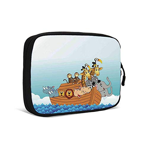 Religious Practical Data Storage Bag,Ark in Waves in The Sea Water Cartoon Characters Animal Giraffe and Elephant for Traveling,9.0