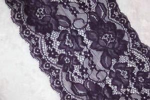 - 1 Yard Dark Eggplant Purple Stretch Trim Galloon Sewing sew LACE 5.75